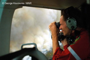 In a Helicopter, Circling a Raging Fire